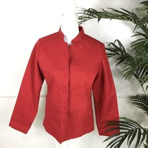 Eileen Fisher Solid Red Jacket Womens Size Medium